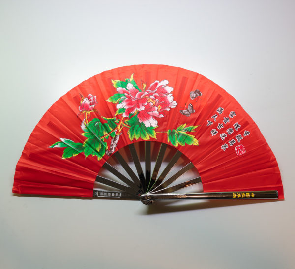 Premium Kung Fu Stahlfächer rot mit Blume und Schrift