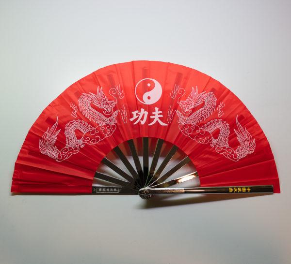 Premium Kung Fu Stahlfächer rot Yin Yang mit Drachen