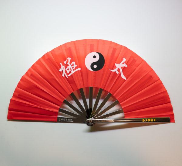 Premium Kung Fu Stahlfächer rot Yin Yang mit Schriftzeichen