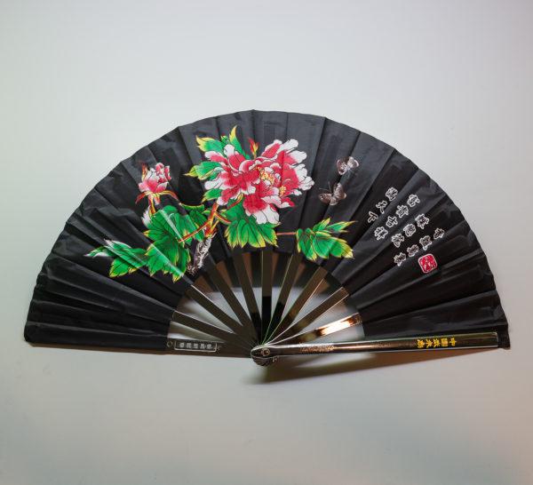 Premium Kung Fu Stahlfächer schwarz mit Blume und Schrift