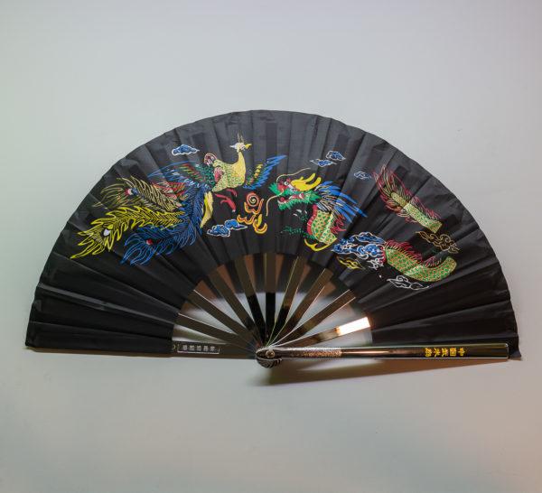 Premium Kung Fu Stahlfächer schwarz Phoenix mit Drache