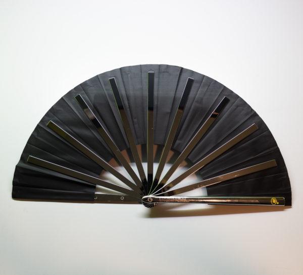 Premium Kung Fu Stahlfächer schwarz Rückseite