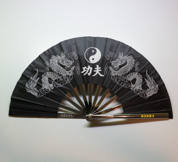 Premium Kung Fu Stahlfächer schwarz Yin Yang mit Drachen
