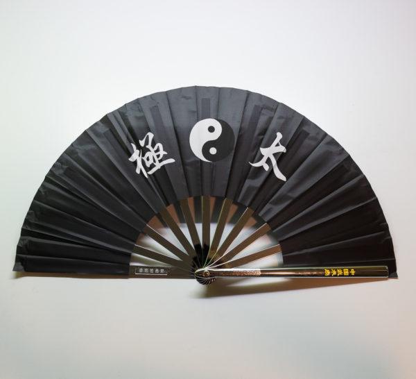 Premium Kung Fu Stahlfächer schwarz Yin Yang mit Schriftzeichen